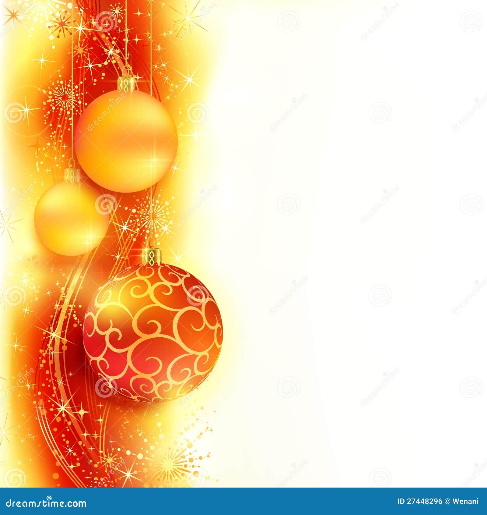 Beira dourada vermelha do Natal com esferas do Natal