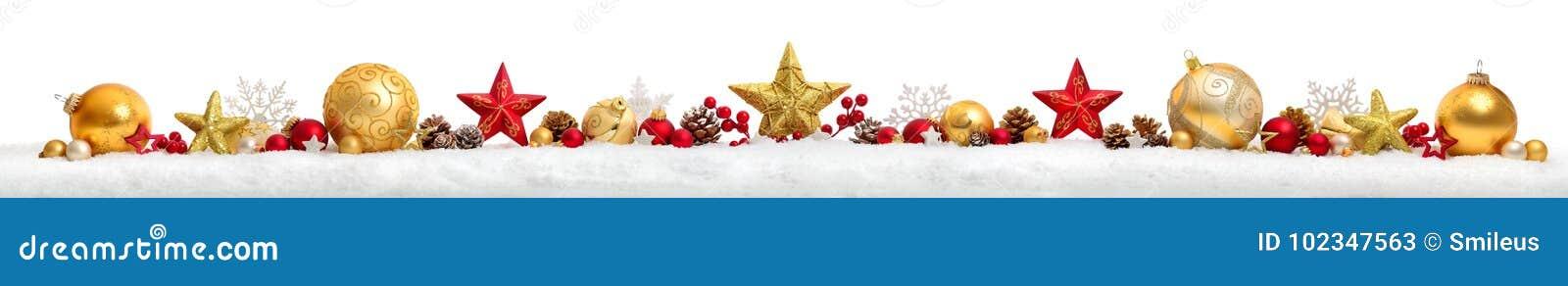 Beira ou bandeira do Natal com estrelas e quinquilharias, backgro branco