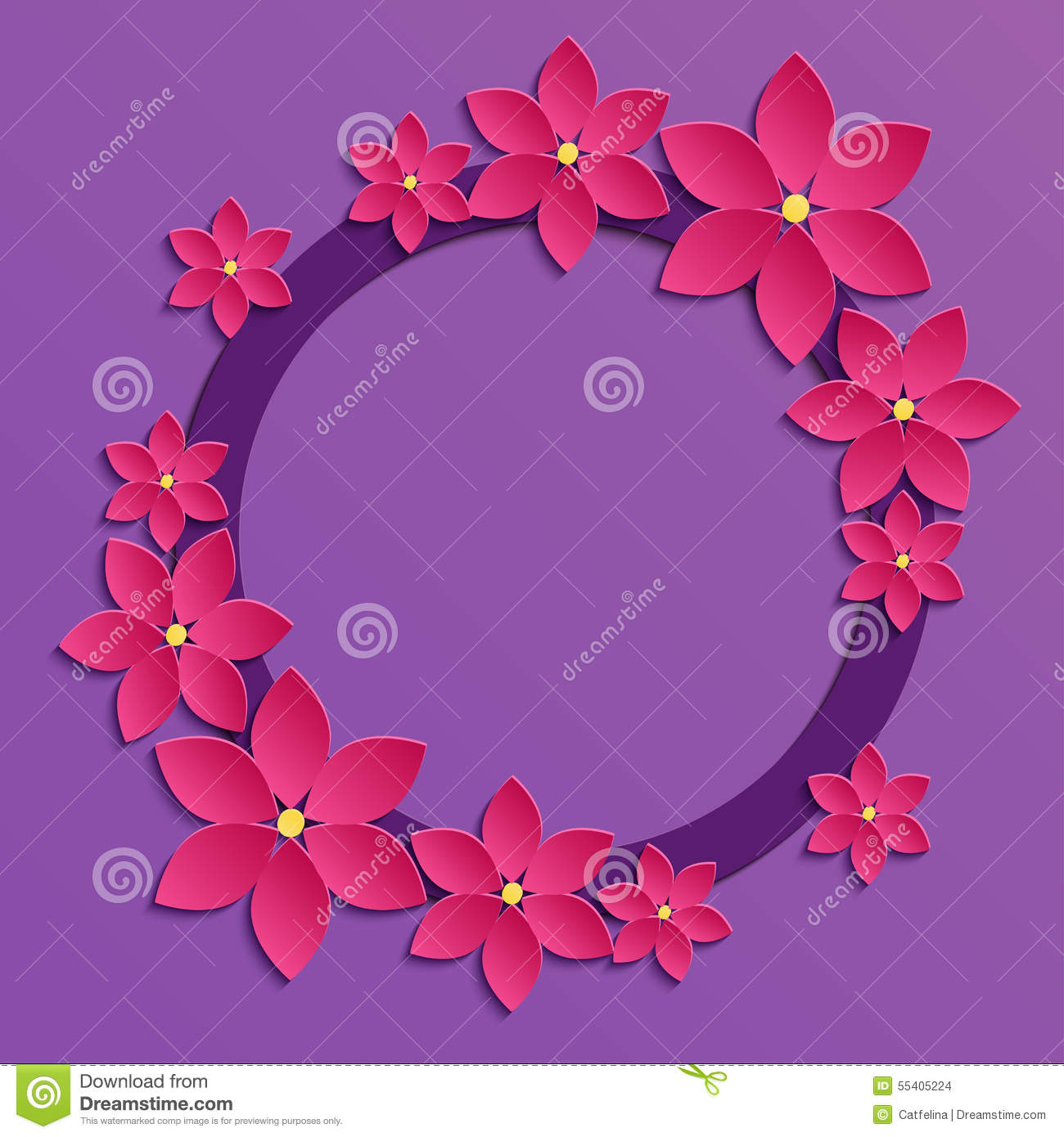 beira violeta decorativa do papercut com as flores de papel corderosa pa