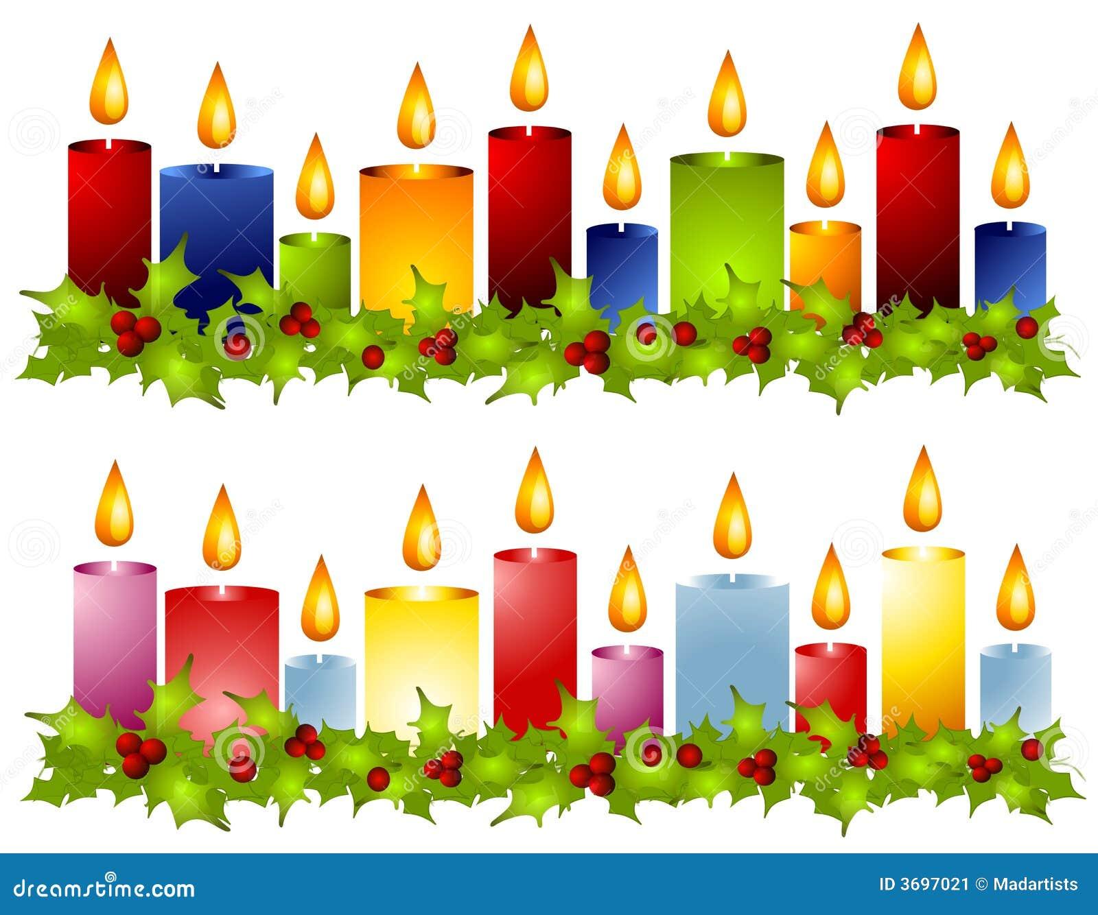 Beiras da grinalda do azevinho da vela do Natal