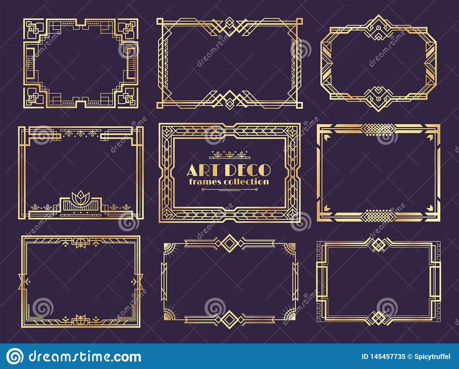 Beiras do art deco quadros dourados dos anos 20, elementos decorativos da fantasia do nouveau para cartazes do vintage Ornamento