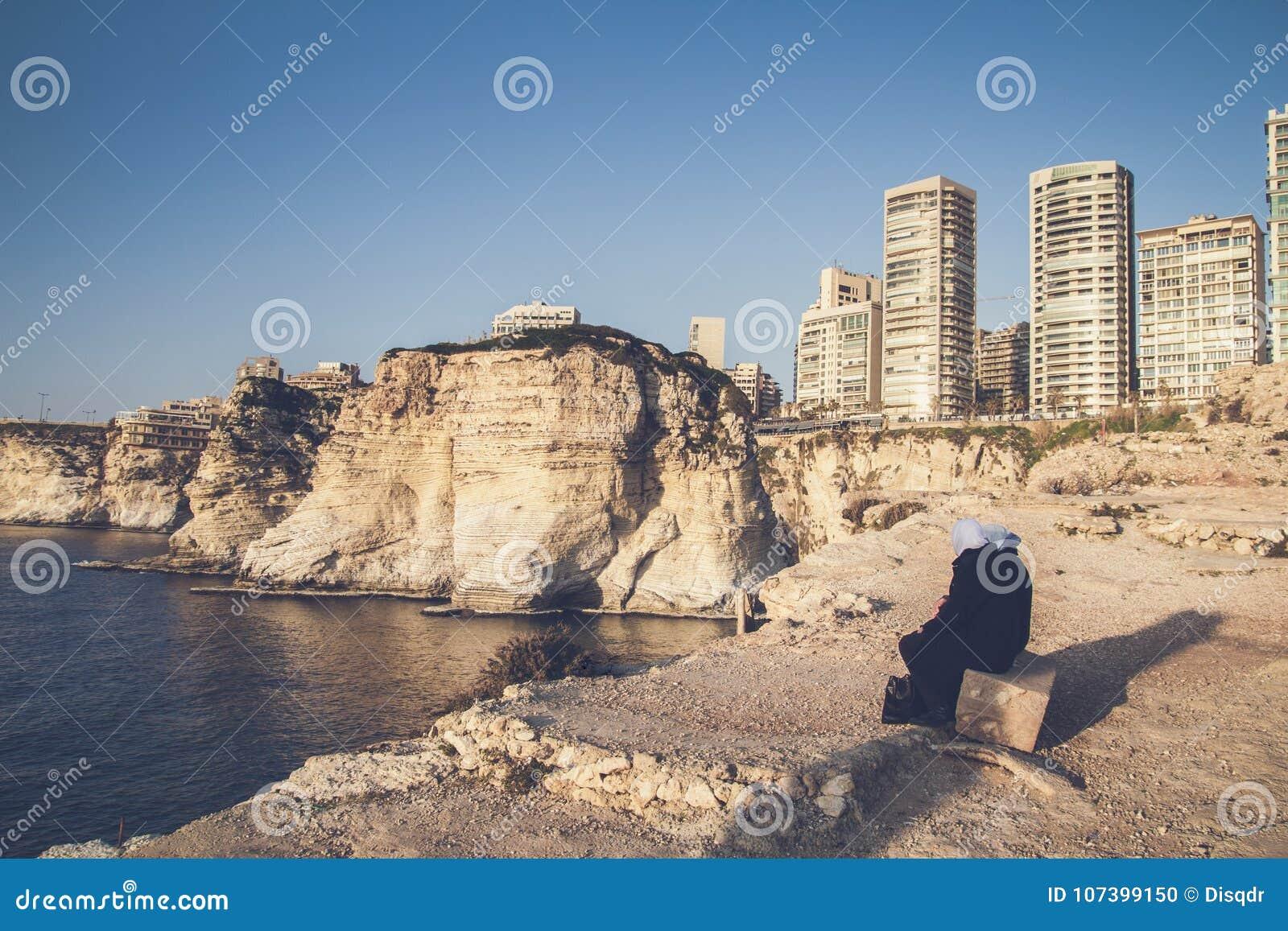 Beirut Lebanon coast and high buildings