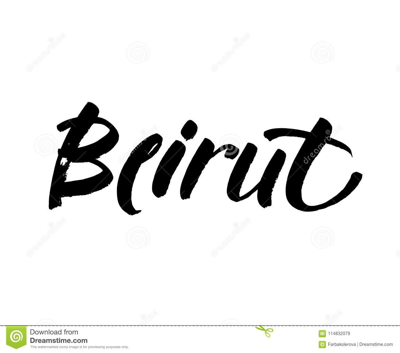 Download Beirut Capital City Typography Lettering Design Hand Drawn Brush Calligraphy Text For Greeting