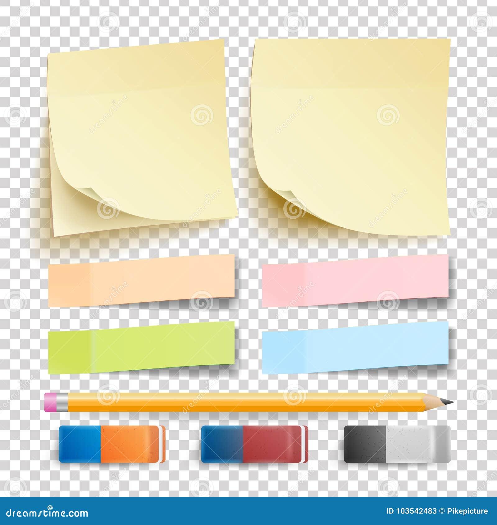 Beitrags-Anmerkungs-Aufkleber-Vektor set Radiergummi und Bleistift Gut für die Werbung des Designs Regenbogen-Gedächtnis-Auflagen