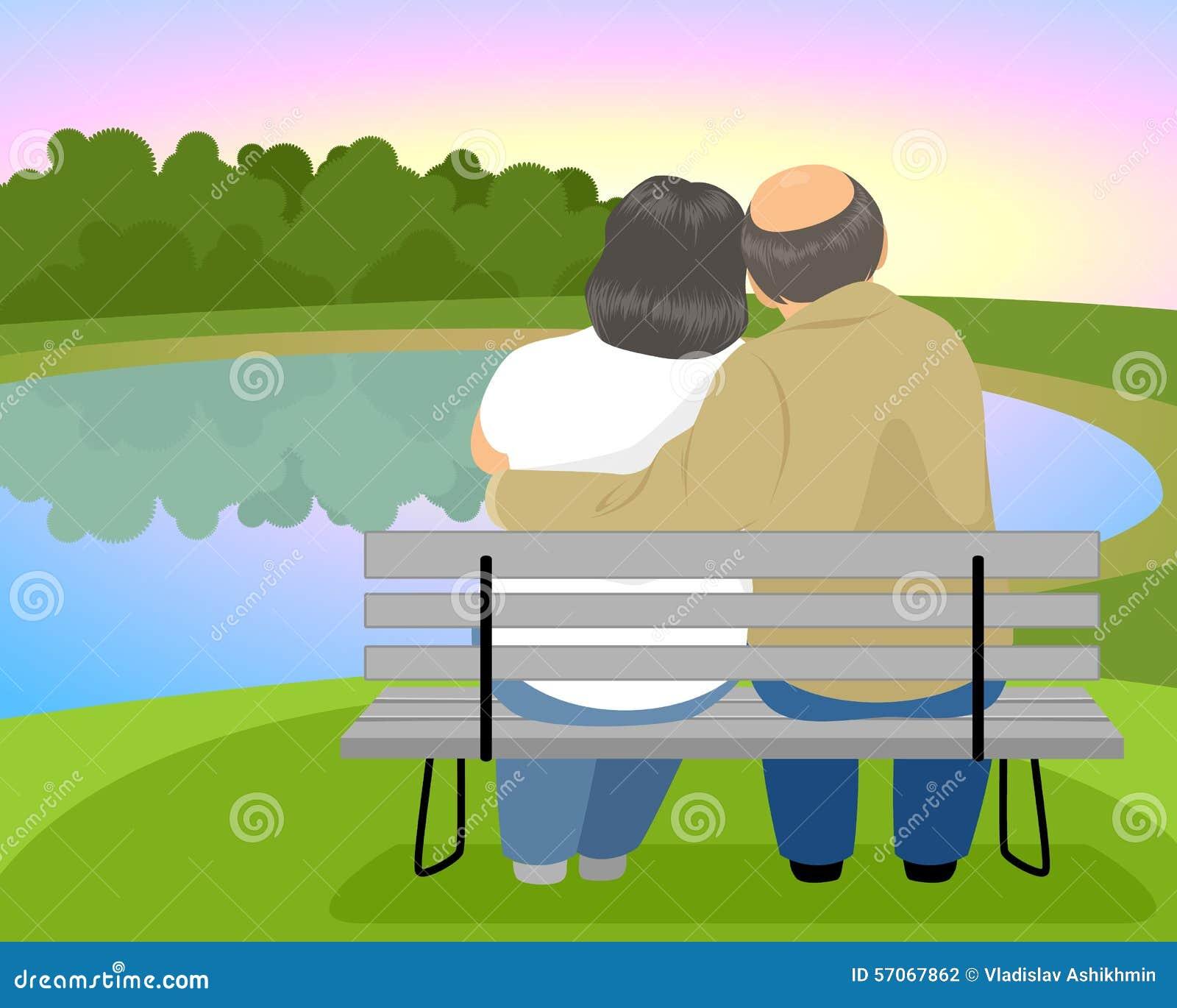Bejaard paar op een bank