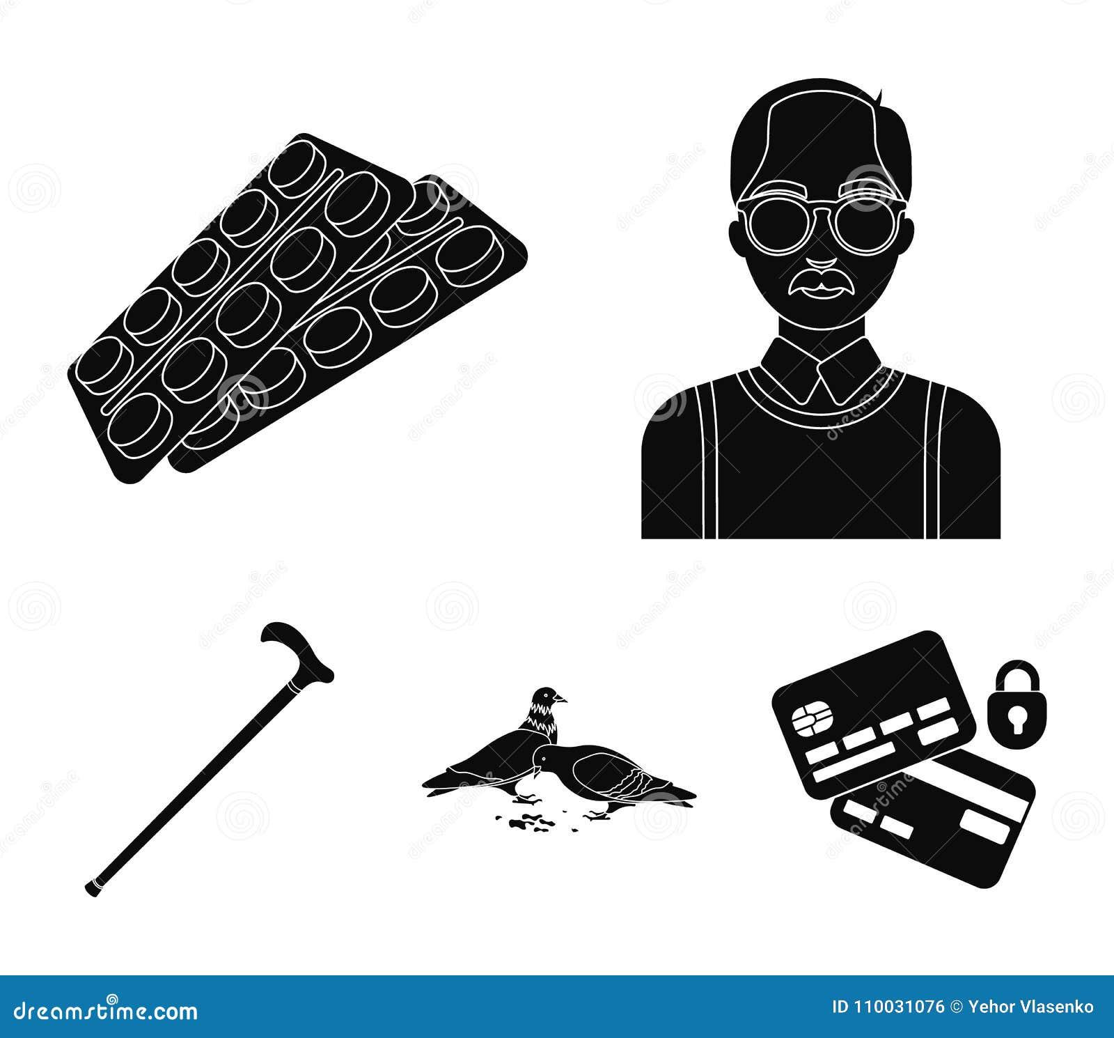 Bejaarden, tabletten, duiven, het lopen riet Pictogrammen van de oude dag de vastgestelde inzameling in zwarte de voorraadillustr