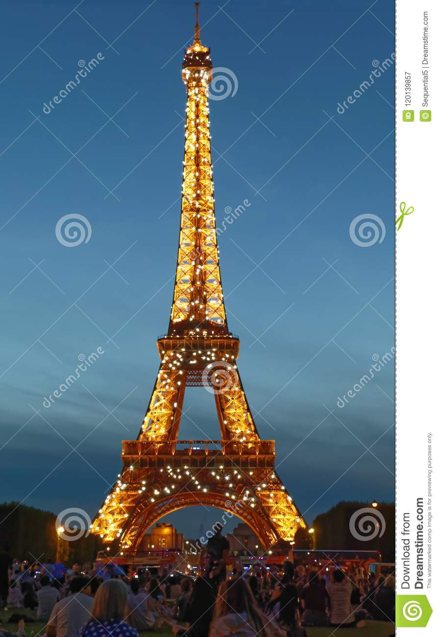 bejewelled eiffel tower at night editorial photography image of