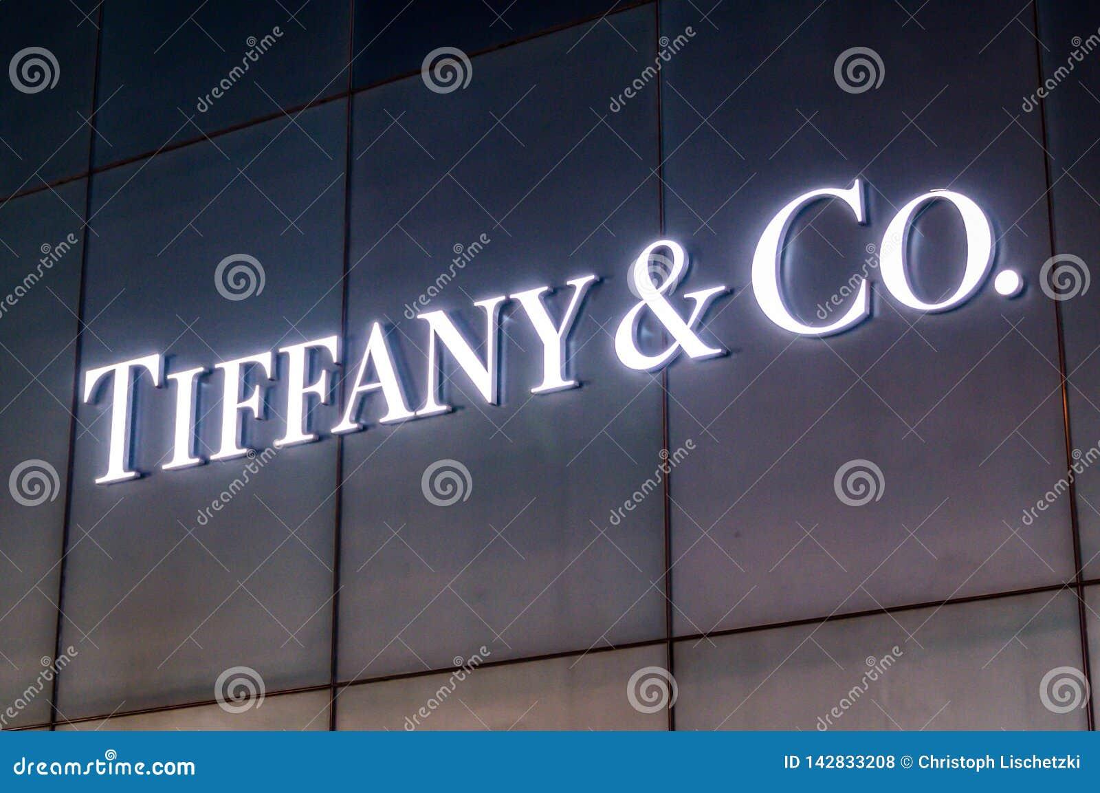 Bejing Κίνα 23 02 2019 λογότυπο κοβαλτίου της Tiffany στο κατάστημα του κοβαλτίου της Tiffany ένας αμερικανικός λιανοπωλητής κοσμ
