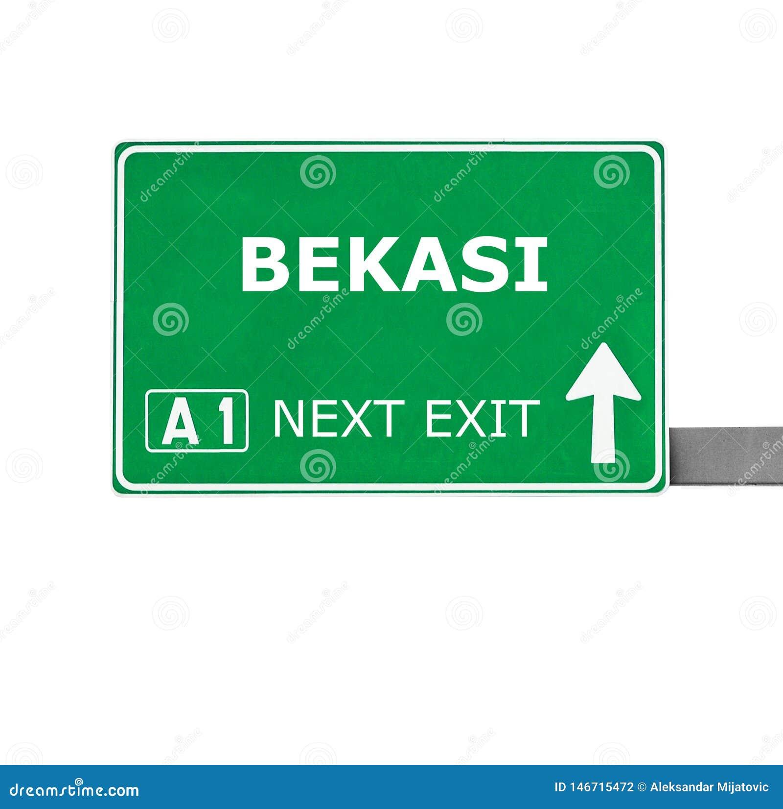 BEKASI-vägmärke som isoleras på vit