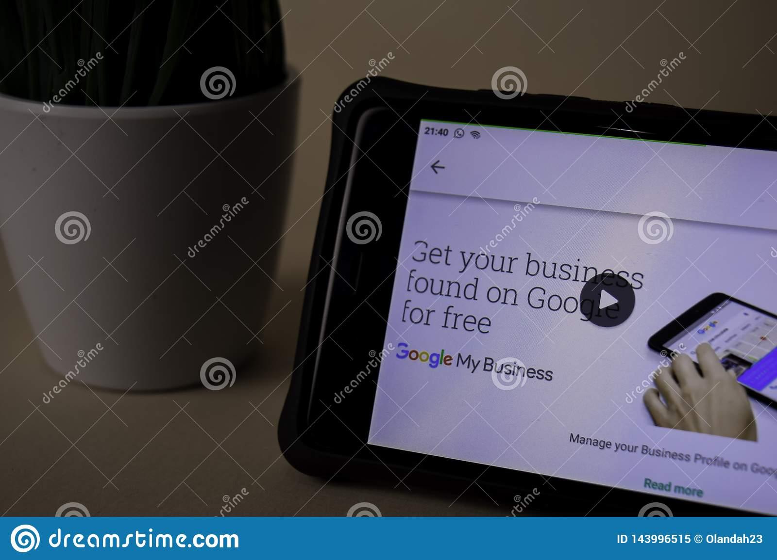 Google My Business dev application on Smartphone screen. My Business is a freeware