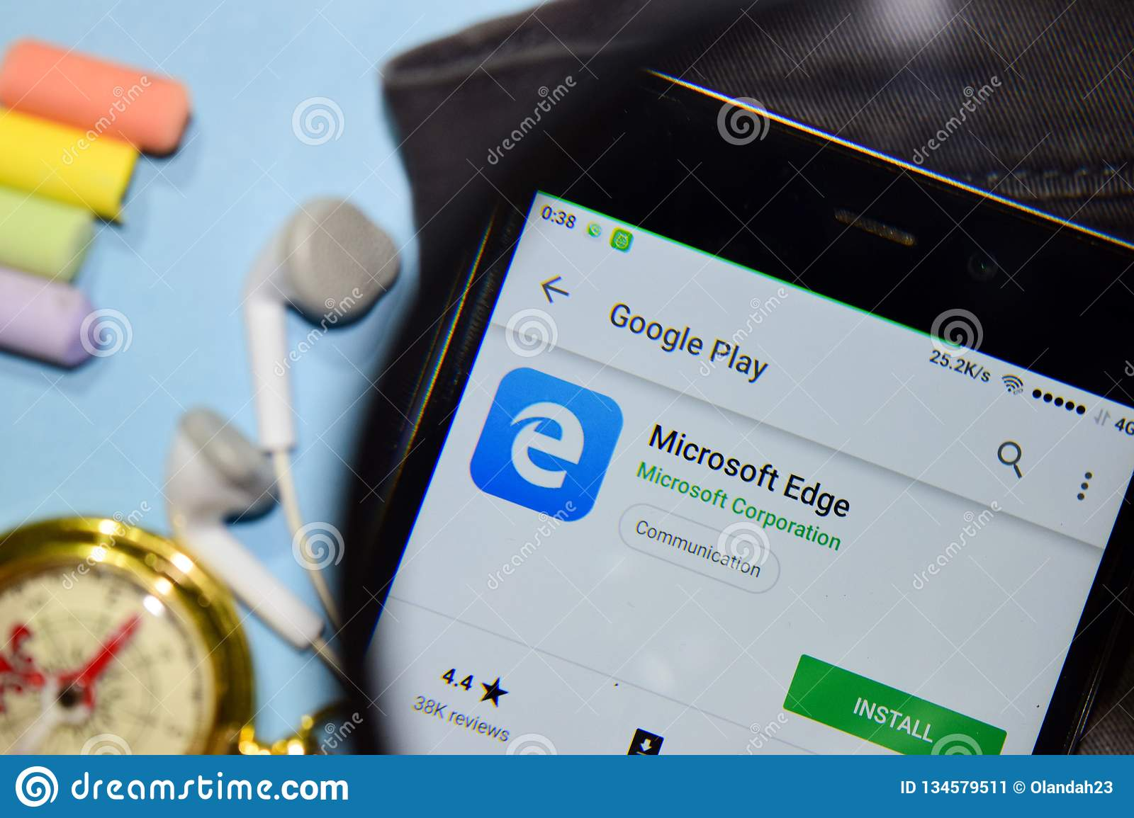 Microsoft Edge Dev App With Magnifying On Smartphone Screen