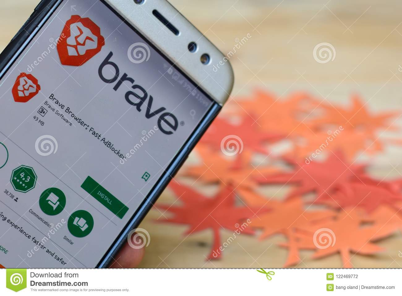 Brave Browser: Fast AdBlocker App On Smartphone Screen  Editorial