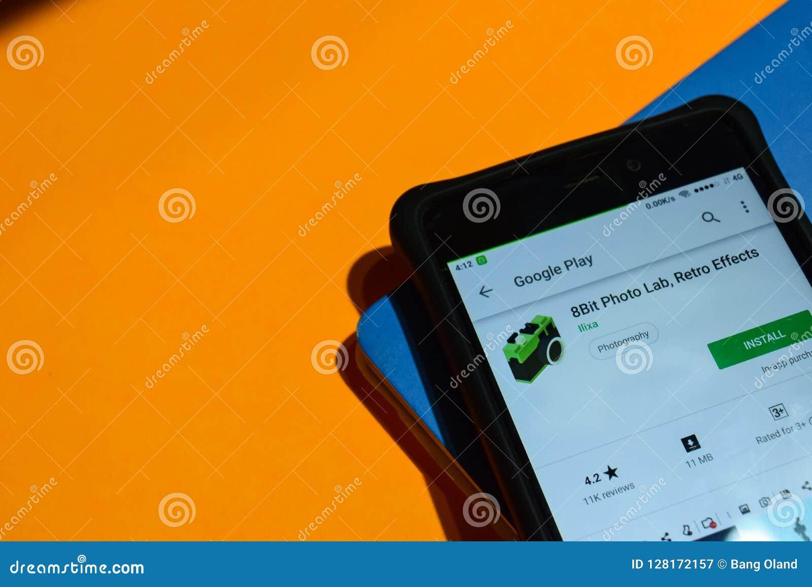 8bit Photo Lab, Retro Effects Dev App On Smartphone Screen