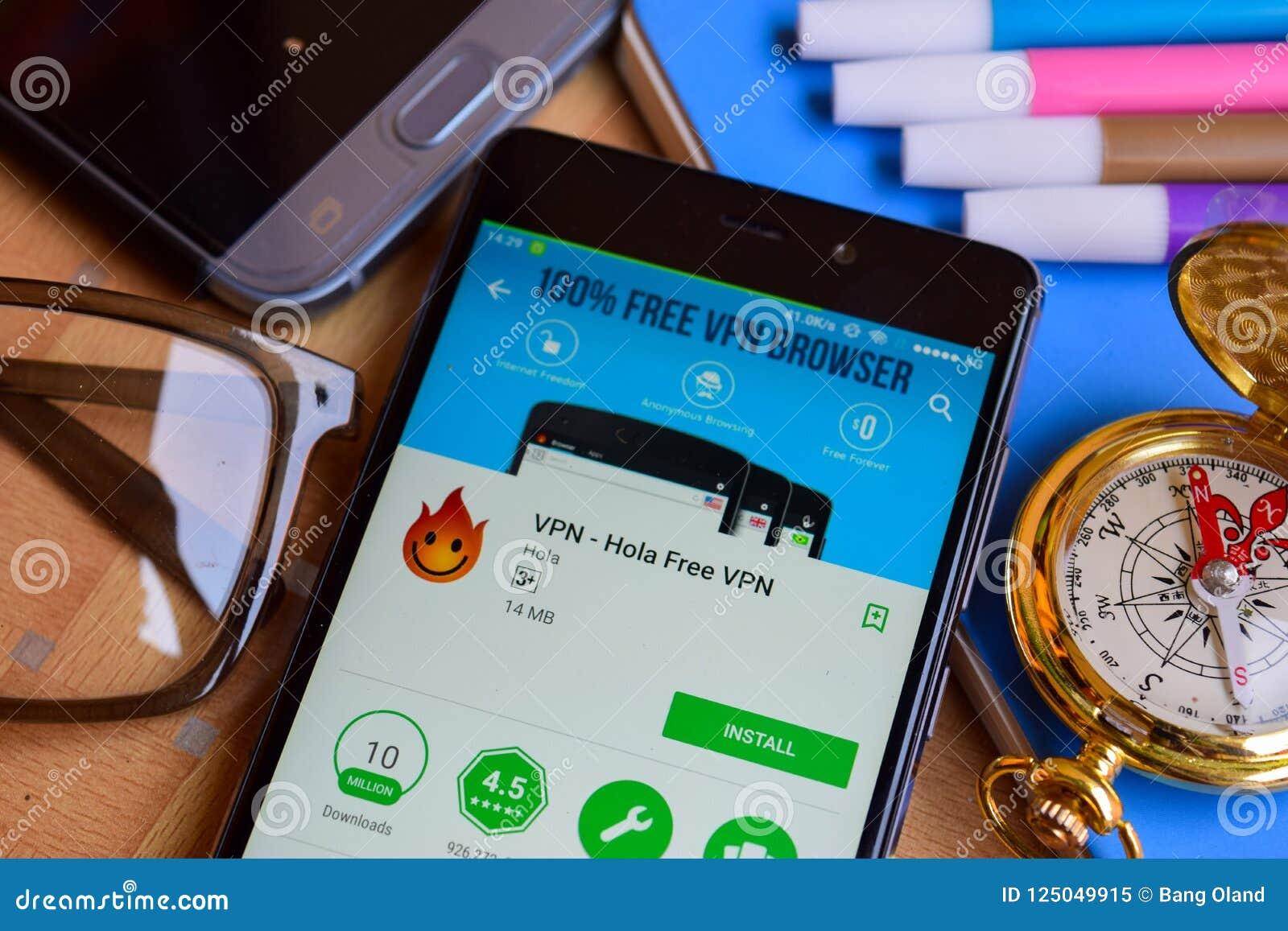 VPN - Hola Free VPN Dev App On Smartphone Screen  Editorial Image