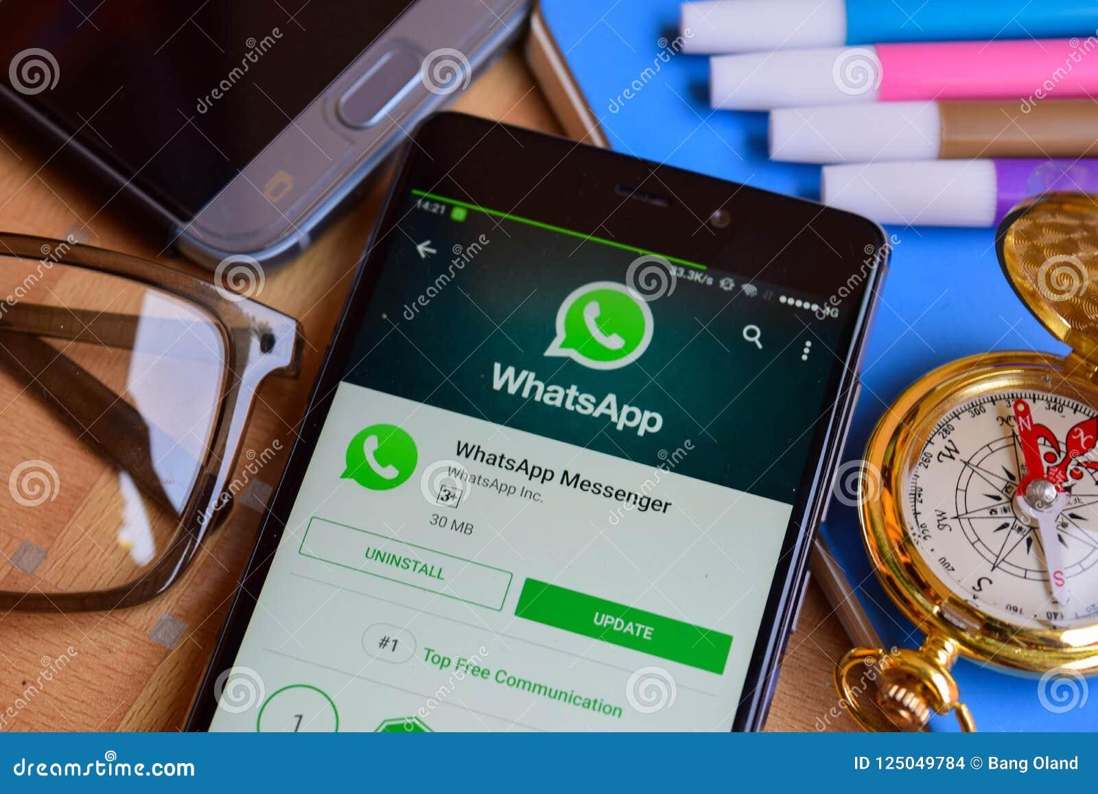 WhatsApp Messenger Dev App On Smartphone Screen  Editorial Stock