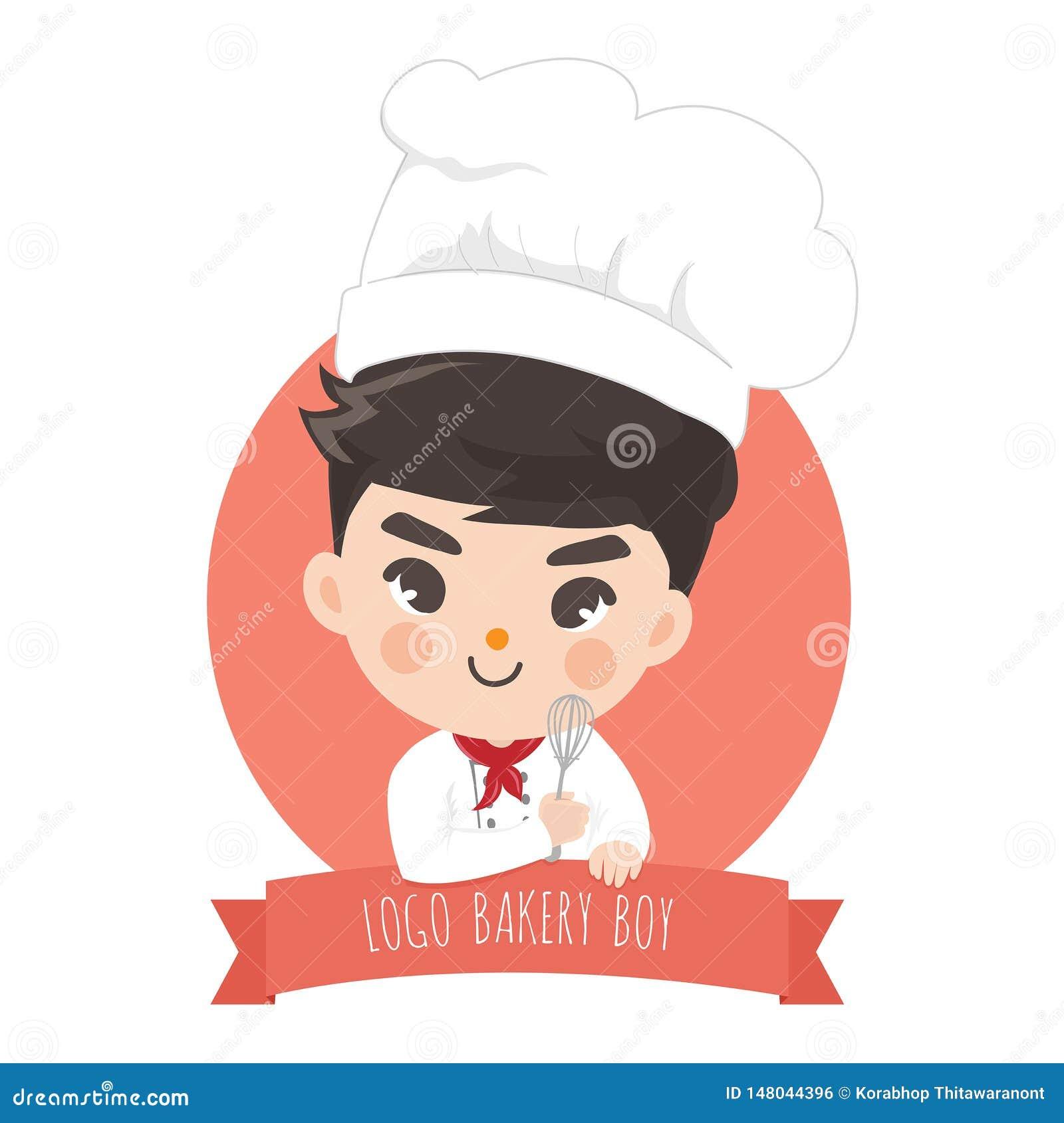 Bekery del muchacho del cocinero del logotipo lindo