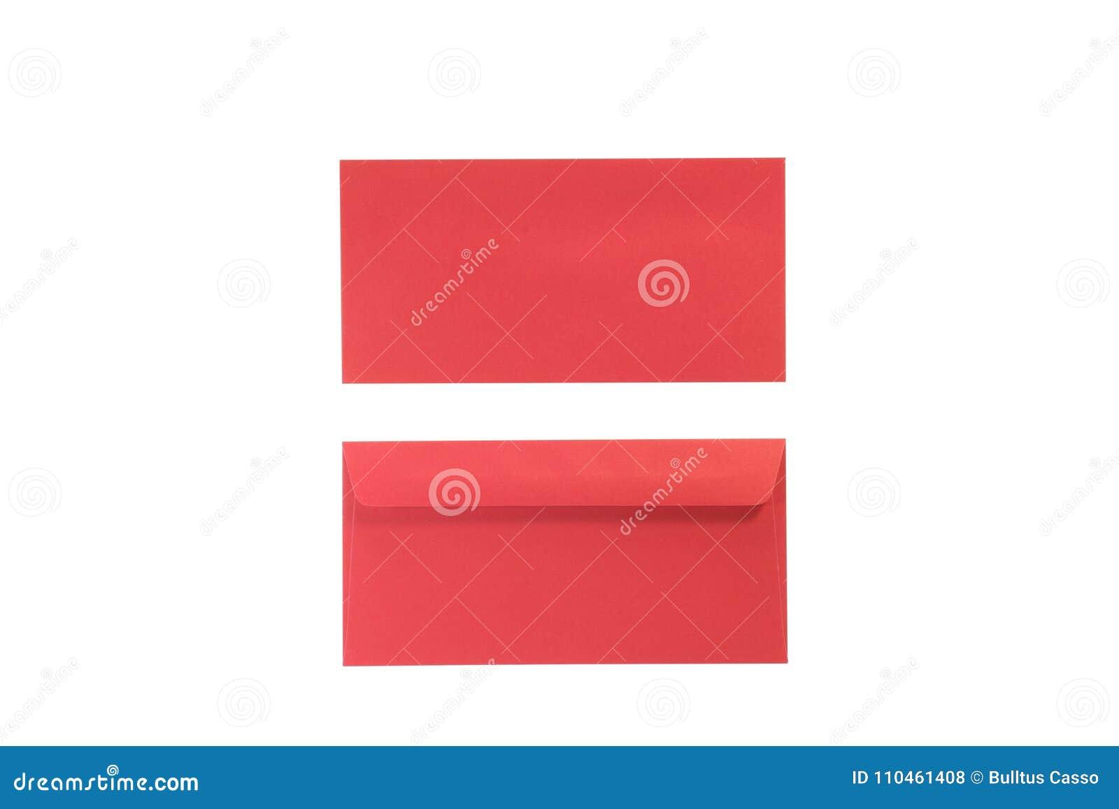 Bekläda och dra tillbaka röda kuvert på isolerad vit
