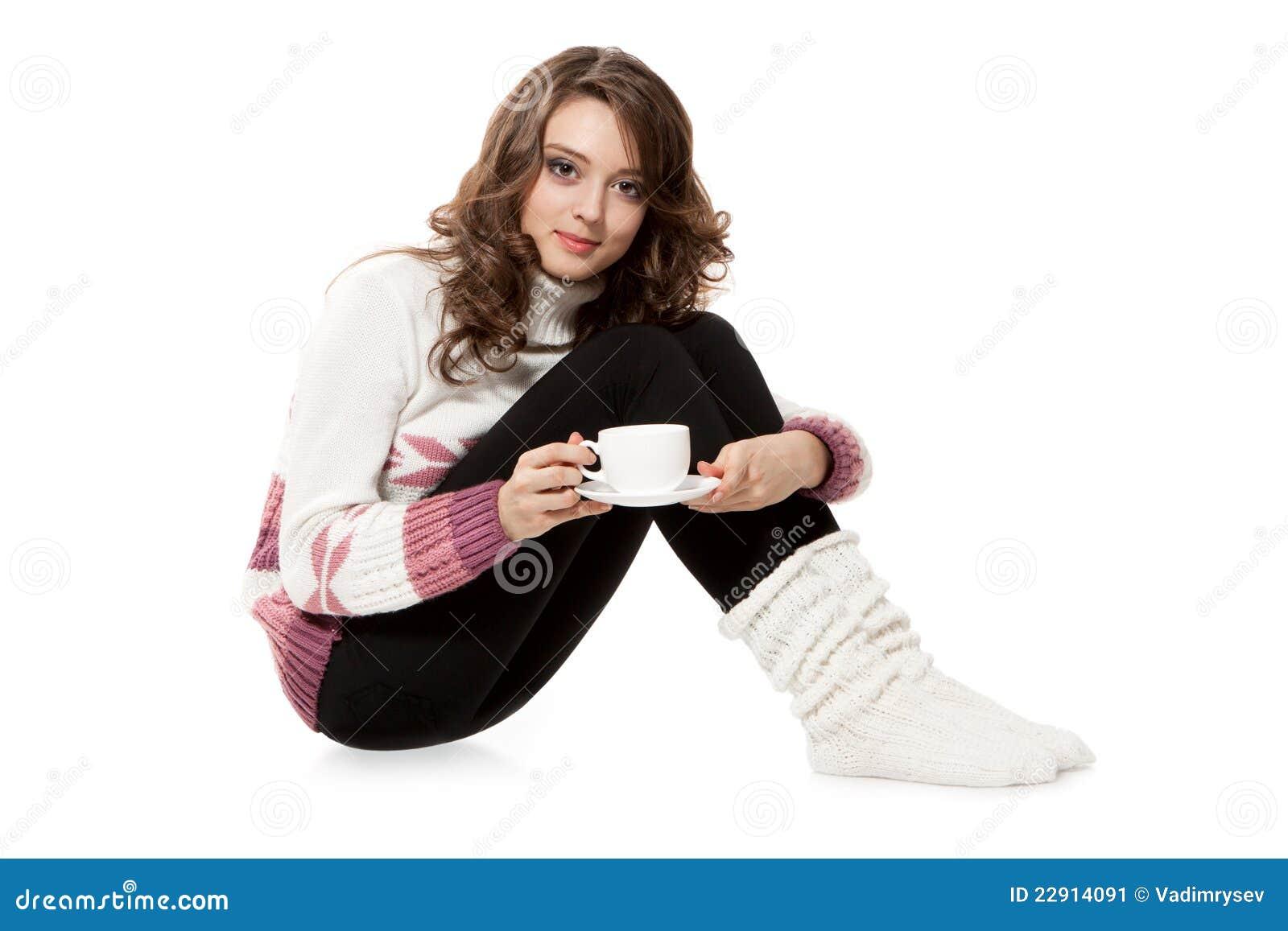Beklär den kaffe virkade koppflickan