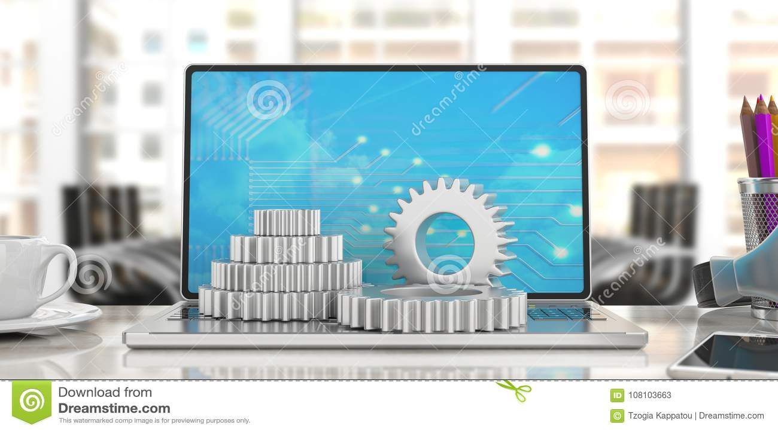 Belägga med metall kugghjul på en bärbar dator, suddighetskontorsbakgrund illustration 3d