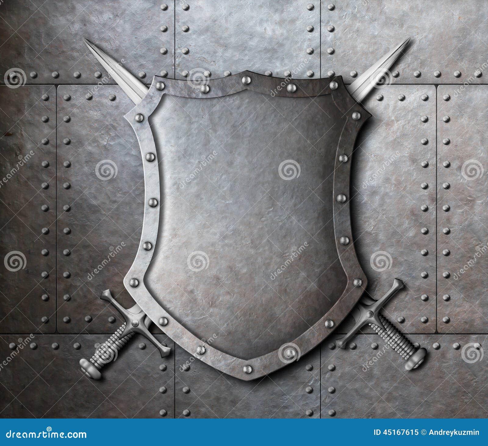 Belägga med metall skölden och två korsade svärd över harnesk