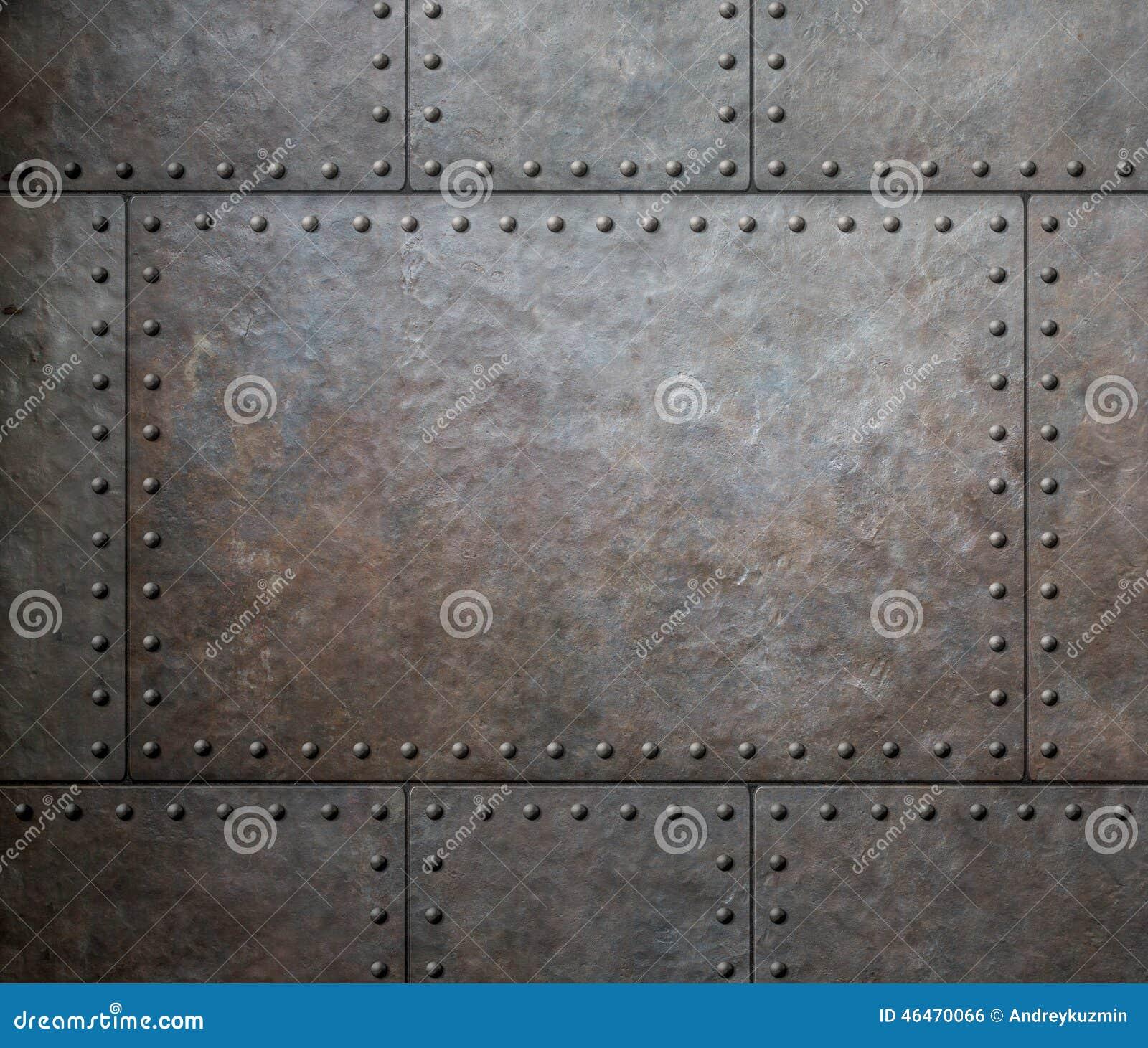 Belägga med metall textur med nitar som ångapunkrockbakgrund