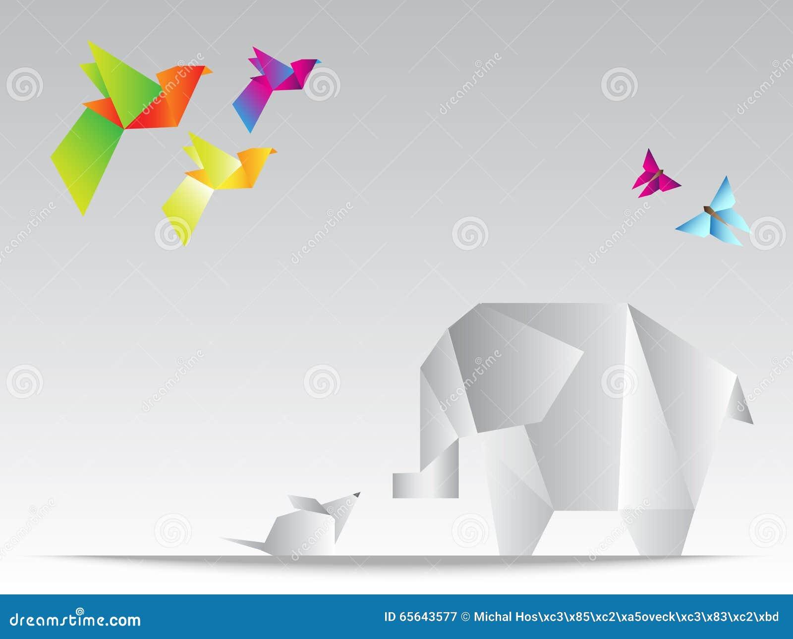 Bel éléphant géométrique de triangles avec la souris, le papillon et les oiseaux colorés