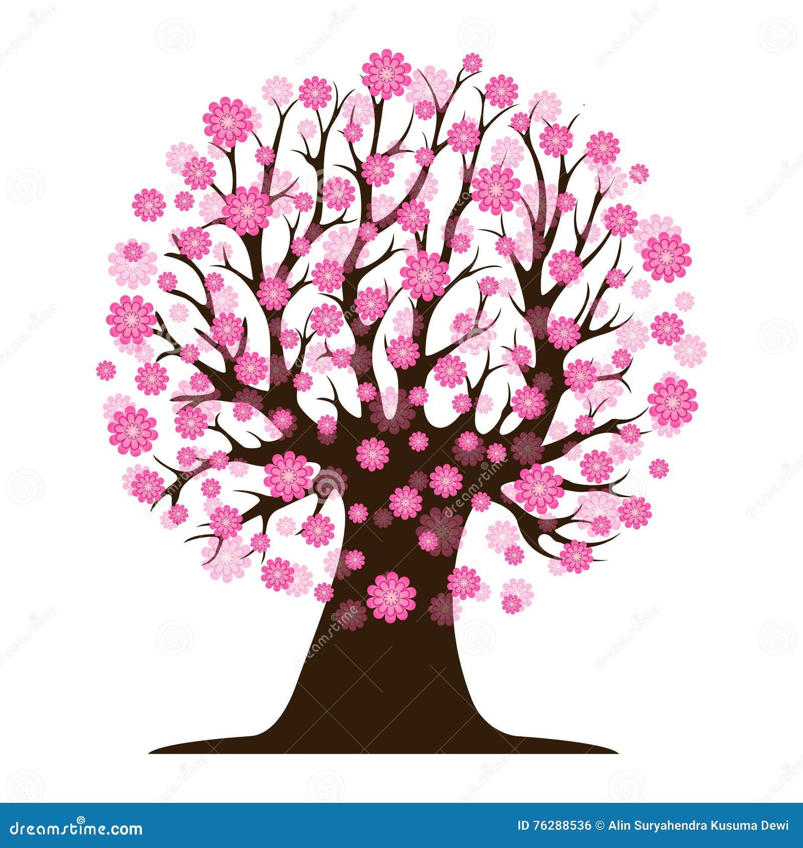 bel arbre décoratif de fleurs de cerisier illustration de vecteur