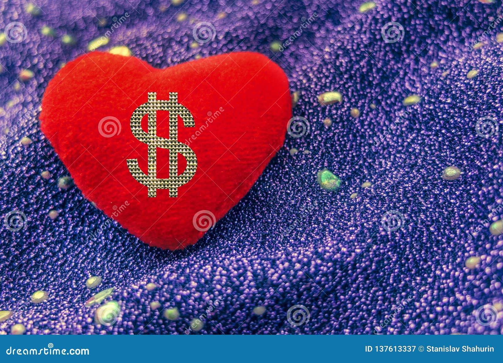 Bel argent dimensionnel trois d amour de l illustration 3d très Dollar de signe sur le coeur rouge