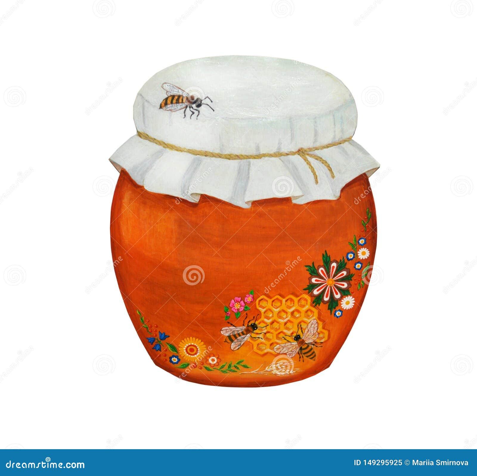 Bel argile, pot en céramique avec du miel et trois abeilles D isolement sur le fond blanc