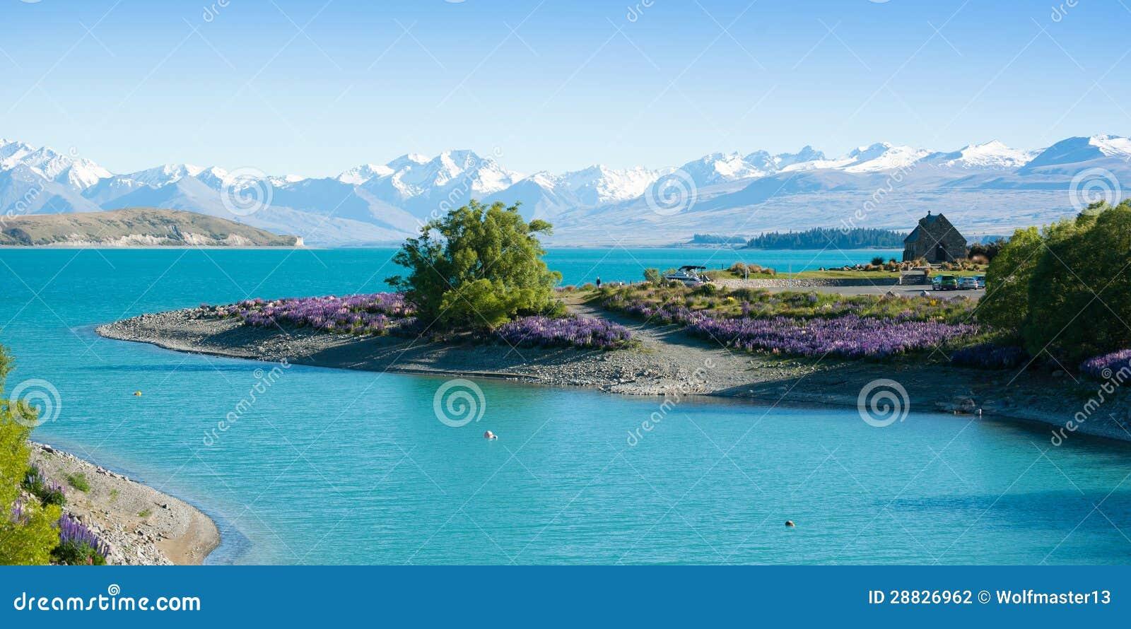 Bel horizontal de montagne de jardin, de lac et de neige au lac Tekapo, île du sud, Nouvelle Zélande
