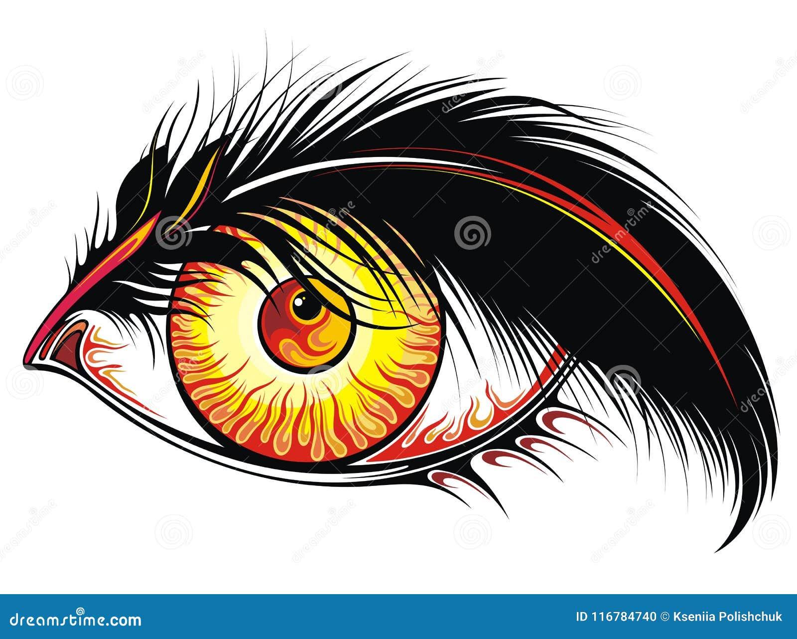 Bel Oeil De Tatouage Avec Le Feu Dans Lui Illustration De Vecteur