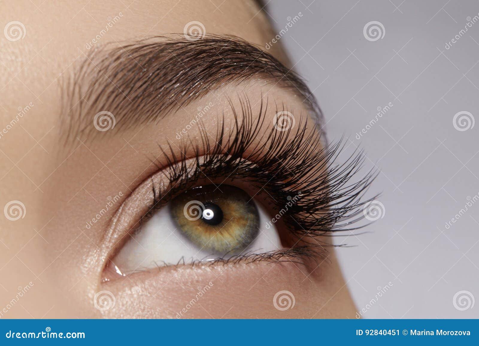 Bel oeil femelle avec de longs cils extrêmes, maquillage noir de revêtement Maquillage parfait, longues mèches Yeux de mode de pl