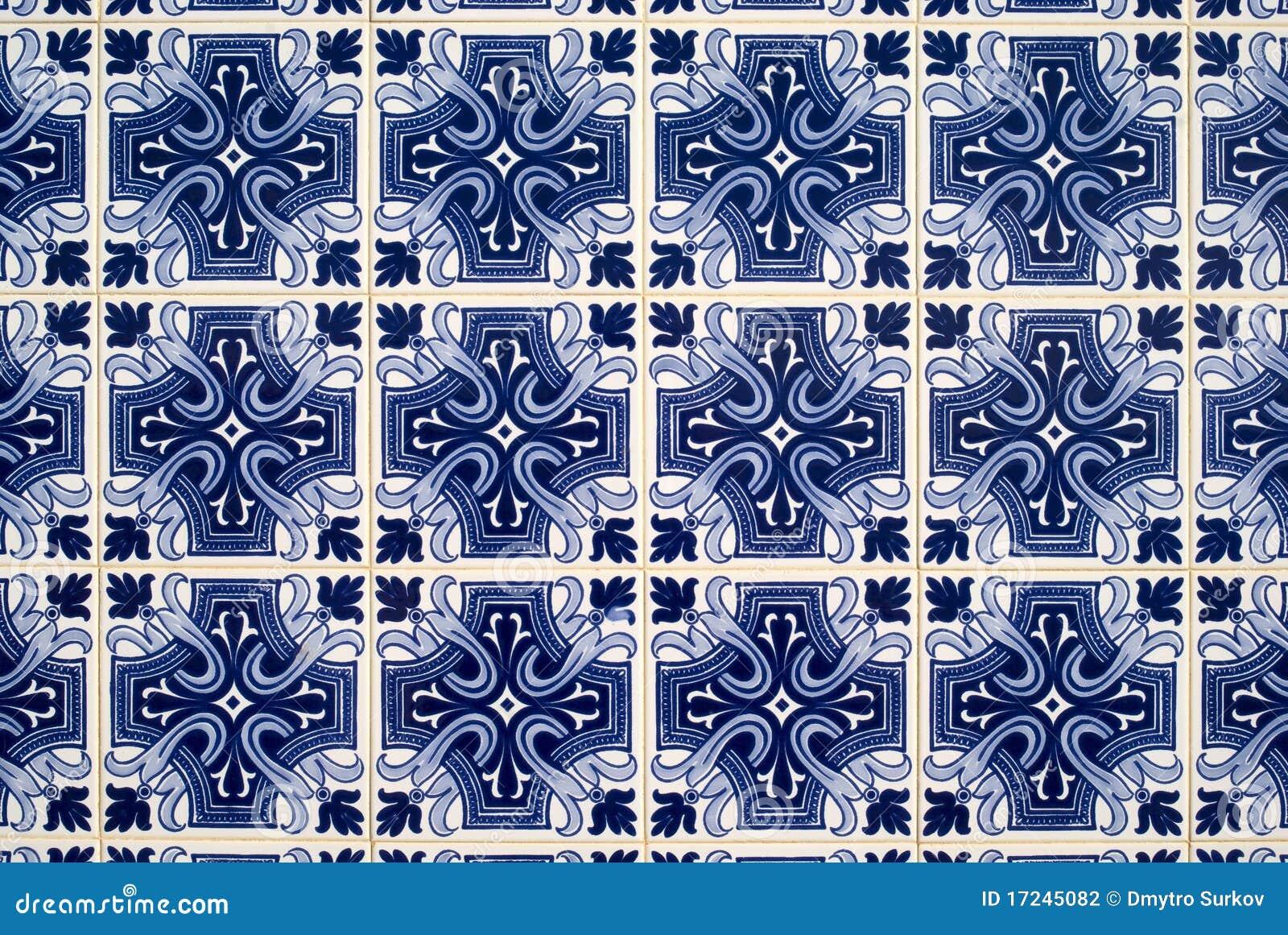 Belagd med tegel gammal portugis för azulejosbakgrund