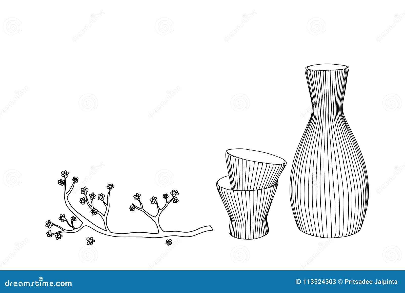 Belangenglas, fles en Japan Vector hand getrokken illustratie
