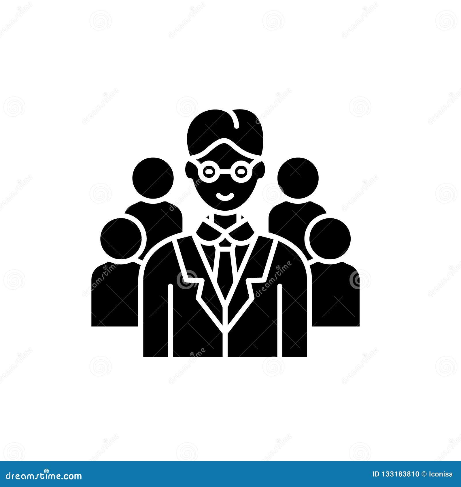 Belangrijk hoogste manager zwart pictogram, vectorteken op geïsoleerde achtergrond Het belangrijke hoogste symbool van het manage