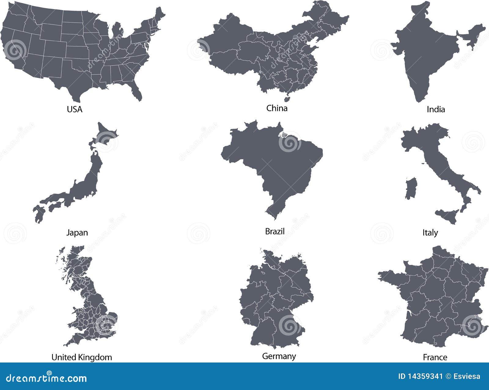 Belangrijke landen van de wereld stock illustratie afbeelding 14359341 - Vloerlamp van de wereld ...