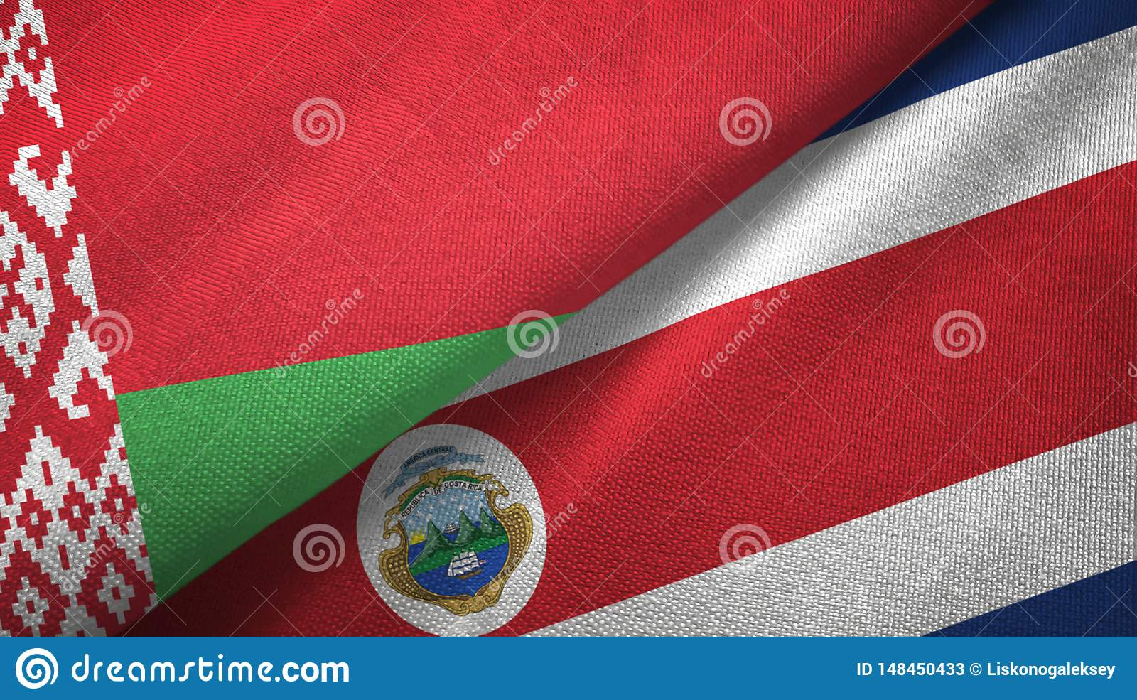 Belarus and Costa Rica two flags textile cloth, fabric texture
