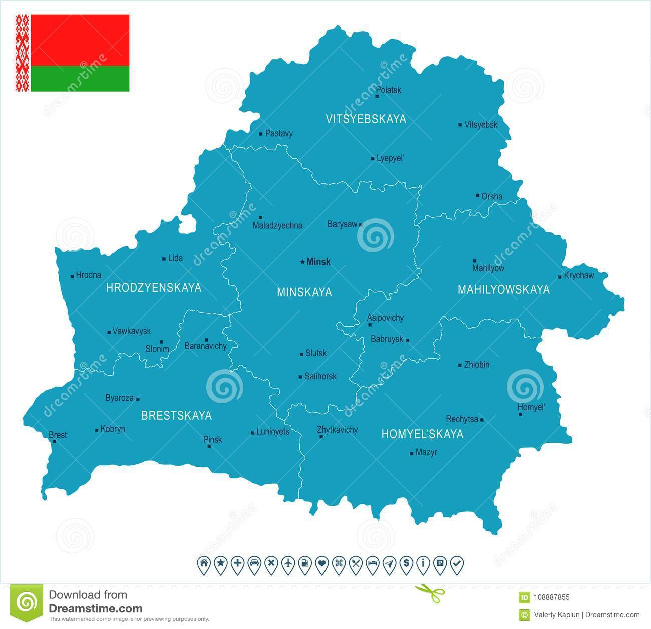 Belarus Map And Flag Detailed Vector Illustration Stock