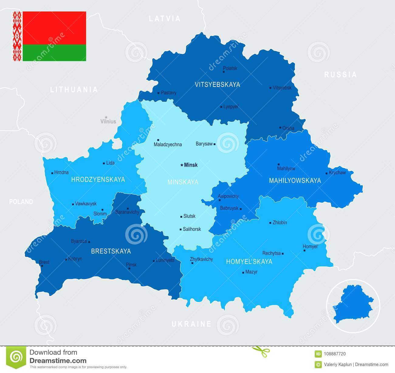 Belarus Map Info Graphic Vector Illustration Stock Illustration