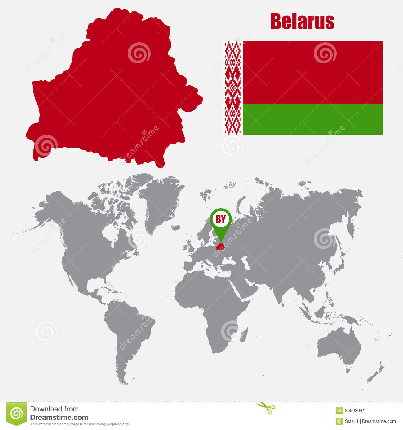 Belarus Map On A World Map With Flag And Map Pointer. Vector ...