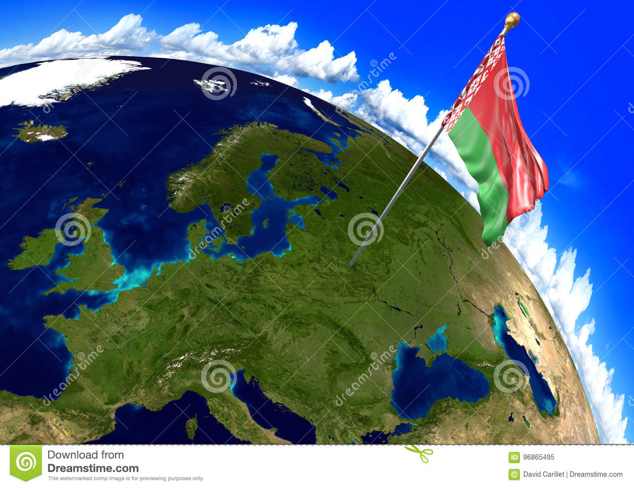Belarus National Flag Marking The Country Location On World Map