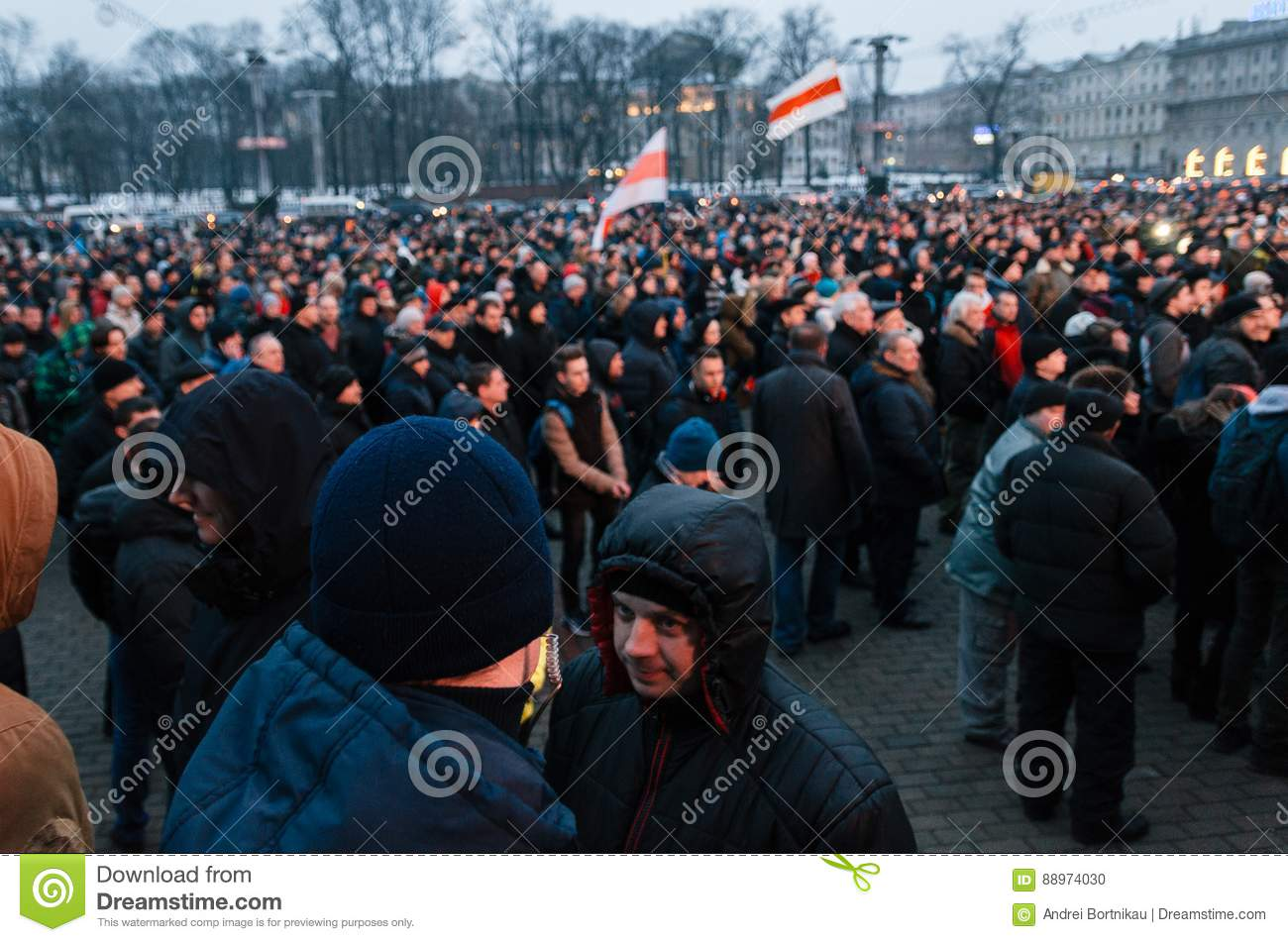 Belarusian people participate in the protest against the decree 3 in Minsk