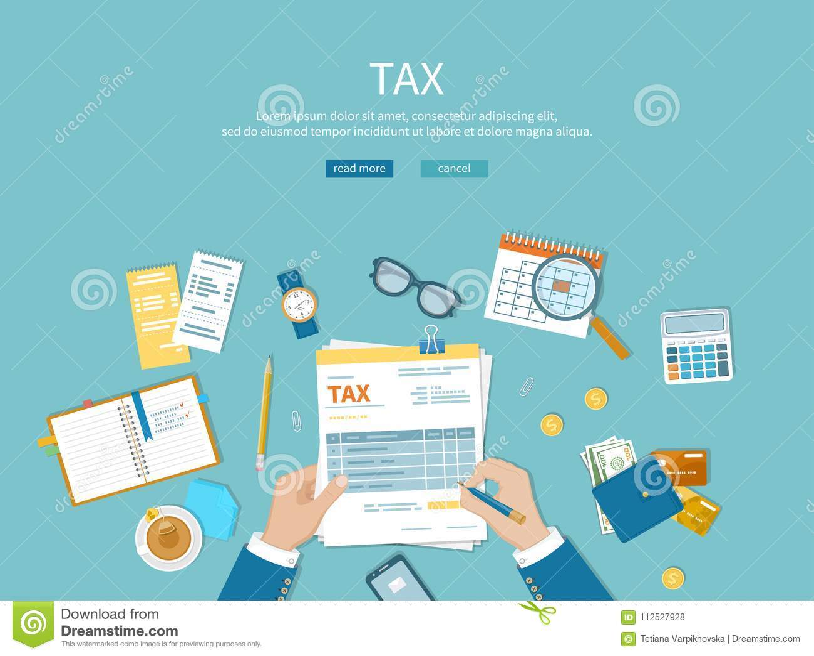 Belastingsbetaling De mens vult de de belastingsvorm en tellingen Financiële kalender, geld, rekeningen, rekeningen op de lijst