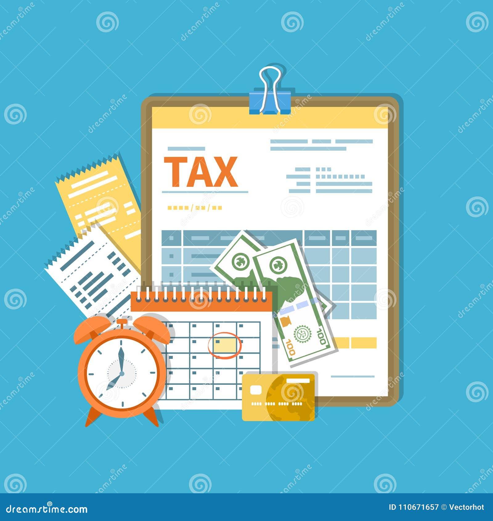 Belastingsbetaling Overheid, de belastingen van de Staat Betalingsdag Belastingsvorm op een klembord, financiële kalenderrekening