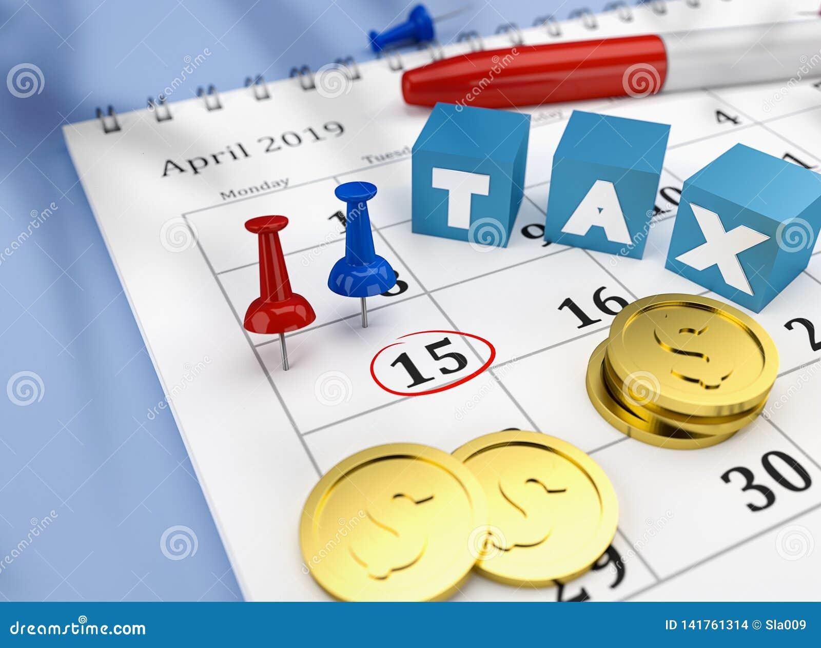 Belastingskalender van 15 April 2019 met kleurrijke spelden en muntstukken en kubussen met woordbelasting