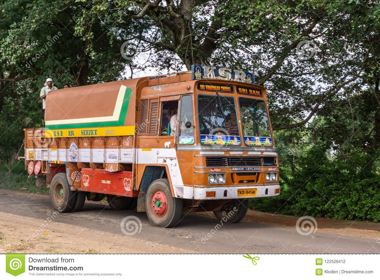 Truck With Water Drilling Equipment, Belathur India  Editorial