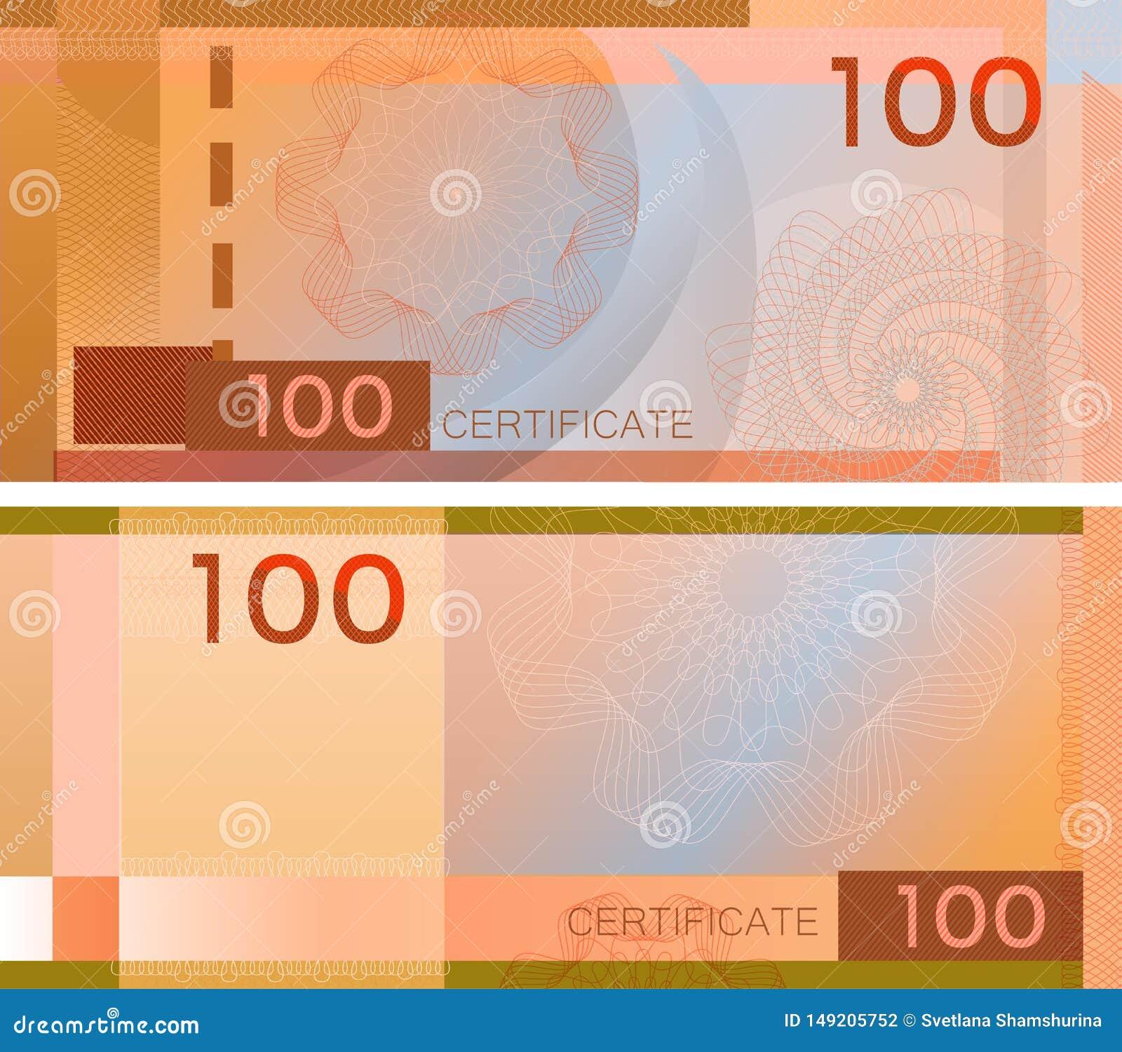 Belegschablonenbanknote 100 mit Guillochemusterwasserzeichen und -grenze Orange Hintergrundbanknote, Geschenkgutschein, Kupon,