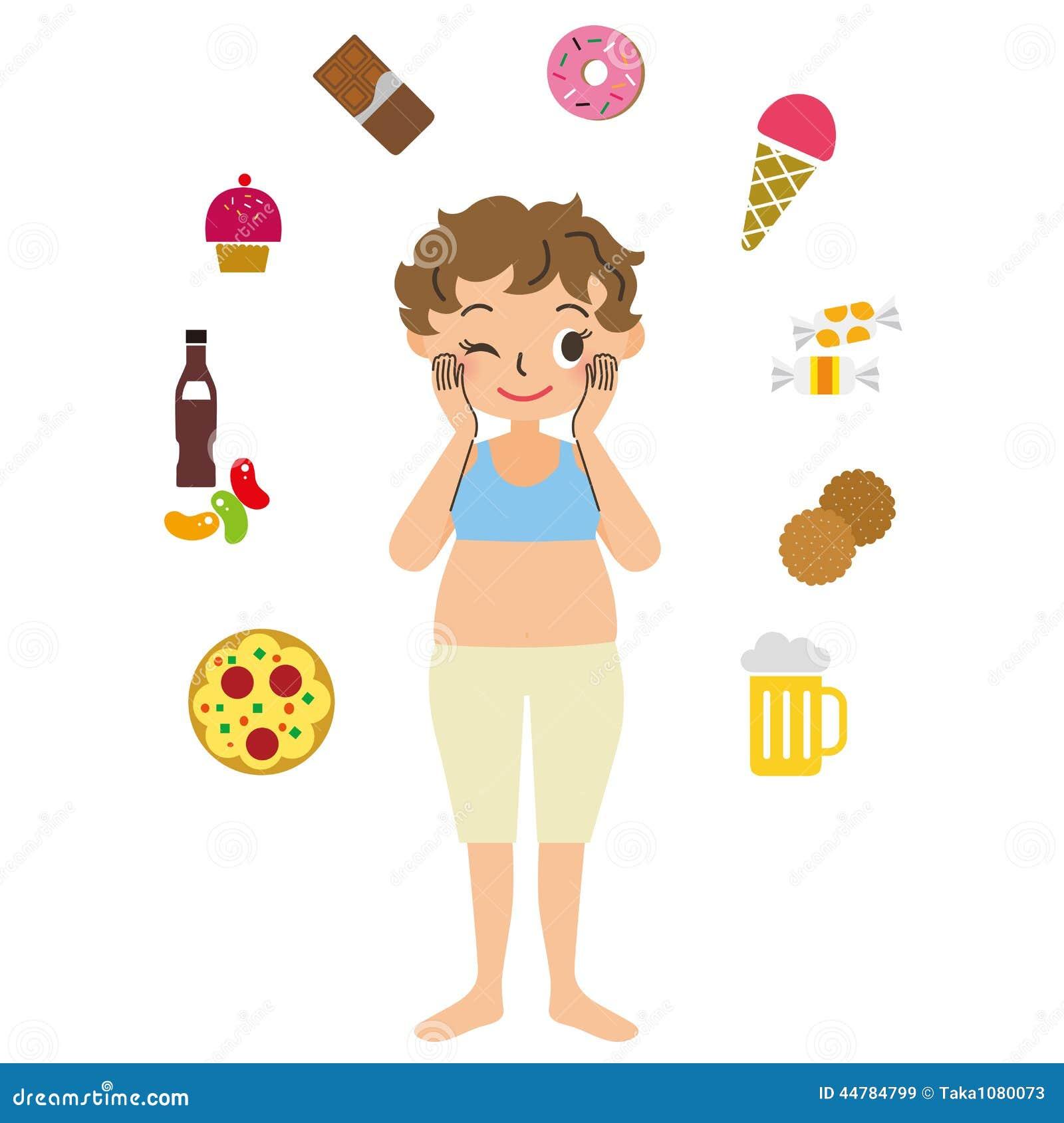 Beleibte Frau mit dem Appetit