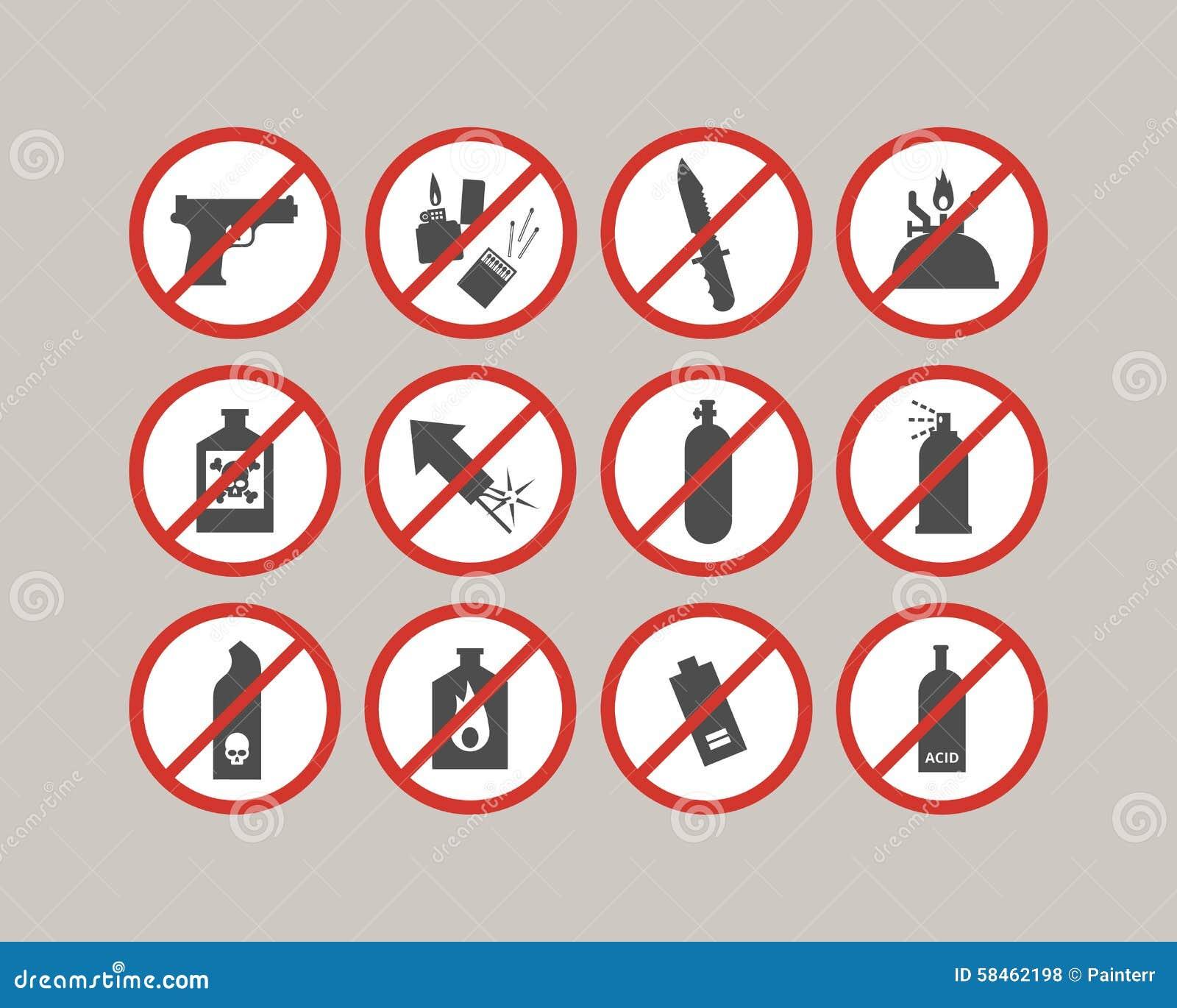 Belemmerde bagagepunten Luchthavenbeperkingen Gevaarlijk materiaal voor vliegtuig