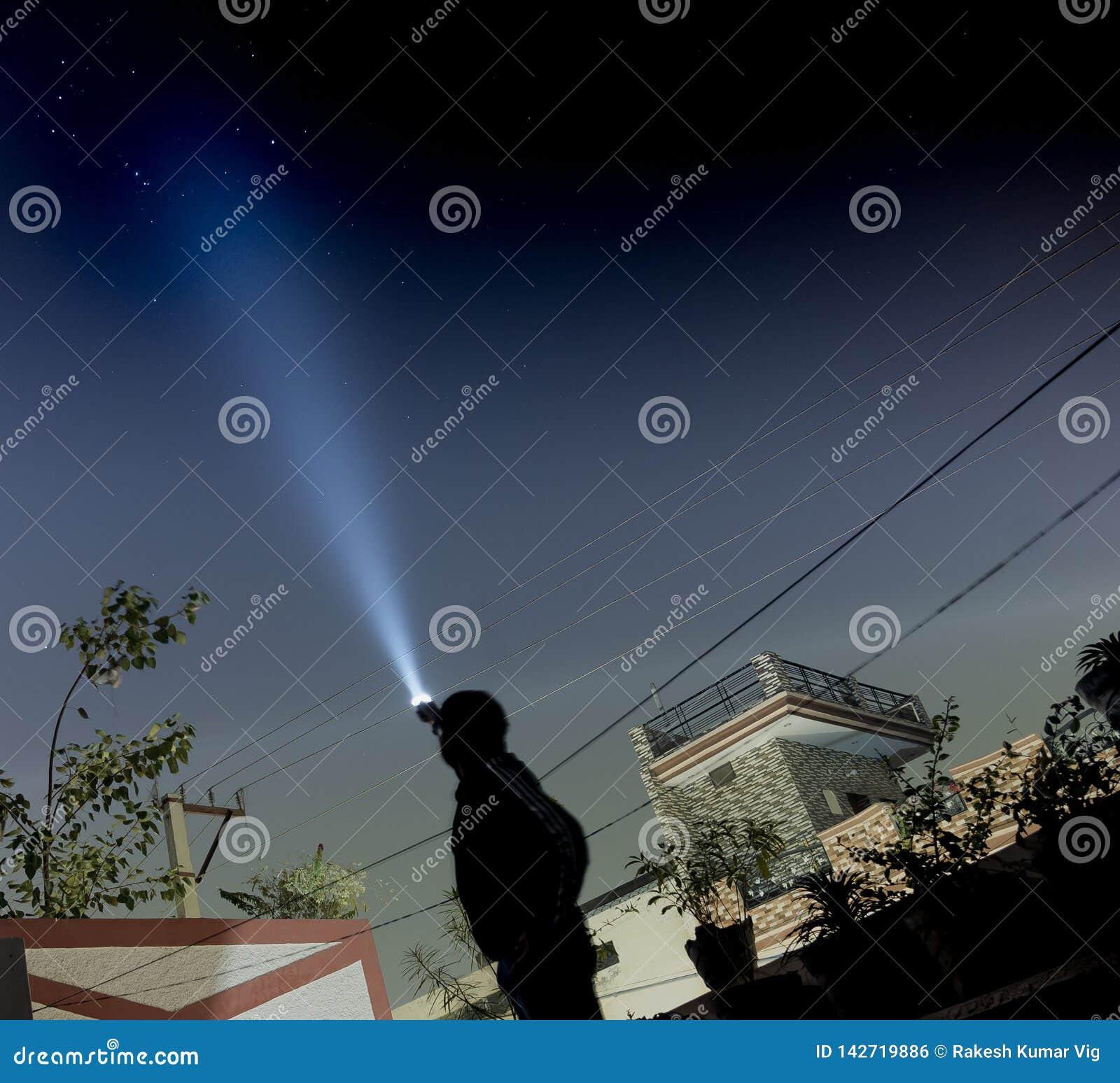 Beleuchten der Sterne unter Verwendung eines Blitzlichts